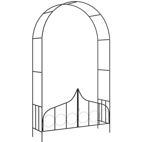 Garden Arch with Gate Black 138x40x238 cm Iron - Black