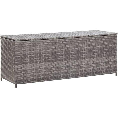Garden Storage Box Grey 120x50x60 cm Poly Rattan - Grey