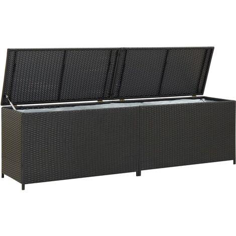 Garden Storage Box Poly Rattan 200x50x60 cm Black - Black