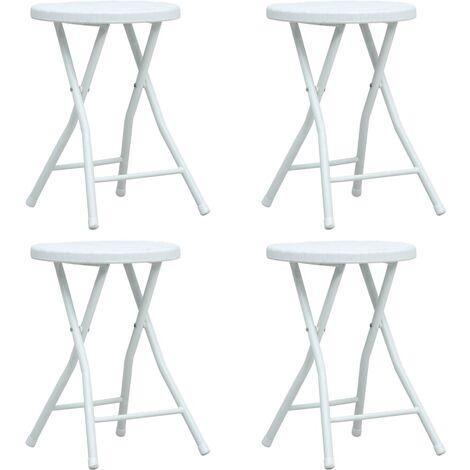 Folding Garden Stools 4 pcs White HDPE Rattan Look - White