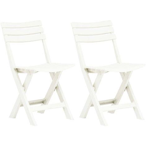 Folding Garden Chairs 2 pcs Plastic White - White