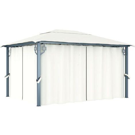 Gazebo with Curtain 400 x 300 cm Cream Aluminium - Cream