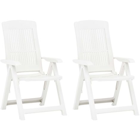 Garden Reclining Chairs 2 pcs Plastic White - White