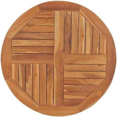 Table Top Solid Teak Wood Round 2,5 cm 80 cm - Brown