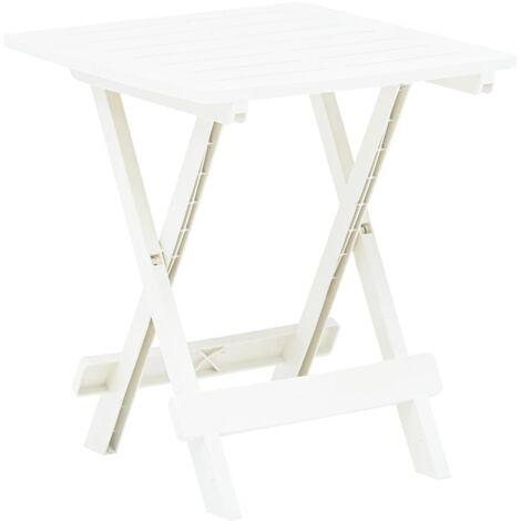 Folding Garden Table White 45x43x50 cm Plastic - White