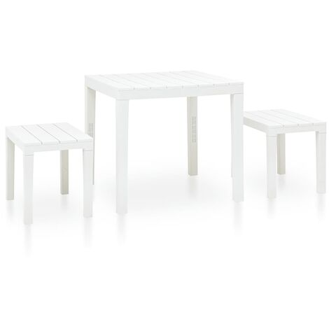 Garden Table with 2 Benches Plastic White - White