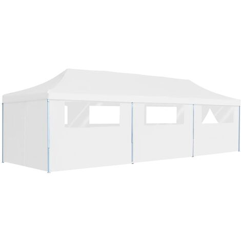 Folding Pop-up Party Tent with 8 Sidewalls 3x9 m White - White