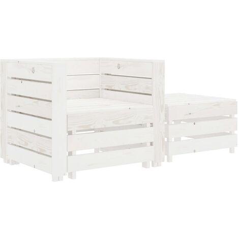2 Piece Garden Pallet Lounge Set White Wood - White