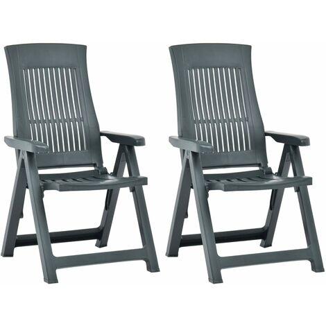 Garden Reclining Chairs 2 pcs Plastic Green - Green
