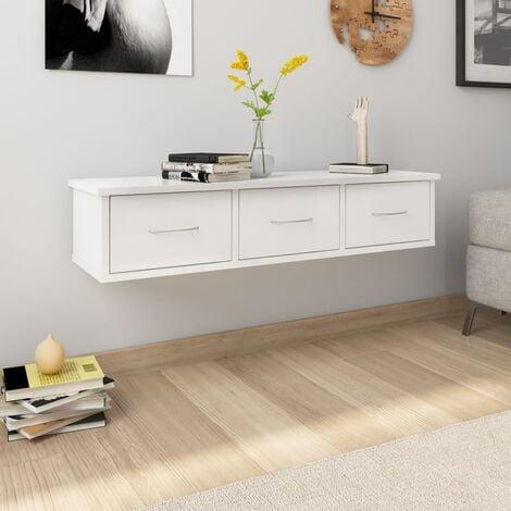 Wall Drawer Shelf High Gloss White 88x26x18.5 cm Chipboard - White