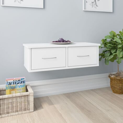 Wall-mounted Drawer Shelf White 60x26x18.5 cm Chipboard - White