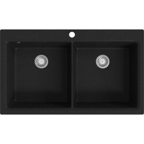 Overmount Kitchen Sink Double Basin Granite Black - Black