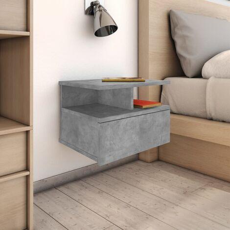 Floating Nightstand Concrete Grey 40x31x27cm Chipboard - Grey