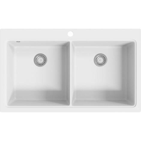 Overmount Kitchen Sink Double Basin Granite Cream White - Cream