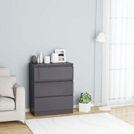Sideboard High Gloss Grey 60x35x76 cm Chipboard - Grey