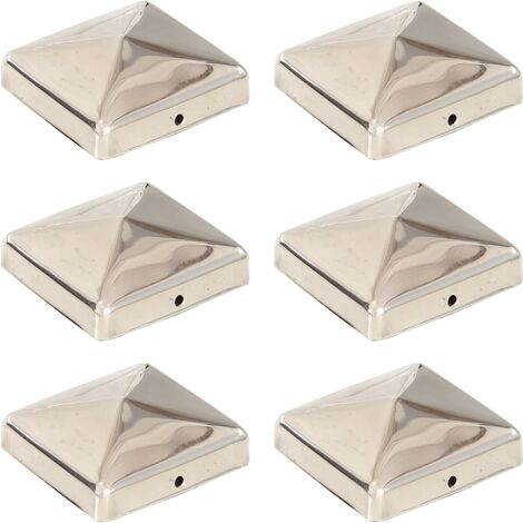 Pyramid Fence Post Caps 6 pcs Stainless Steel 71x71 mm - Silver