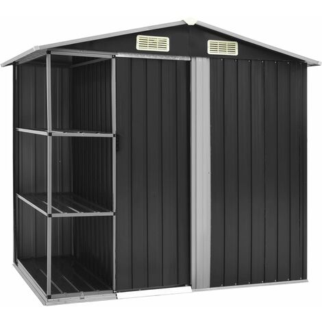 Garden Shed with Rack Anthracite 205x130x183 cm Iron - Grey