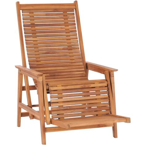 Garden Lounge Chair with Footrest Solid Teak Wood - Brown