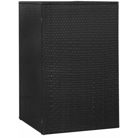 Single Wheelie Bin Shed Black 76x78x120 cm Poly Rattan - Black