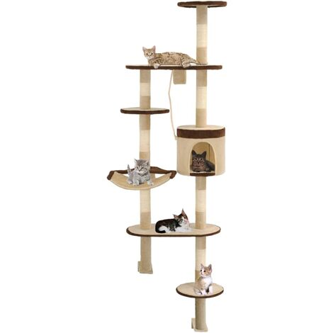 Cat Tree with Sisal Scratching Posts Wall Mounted 194 cm - Multicolour