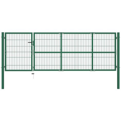 Garden Fence Gate with Posts 350x100 cm Steel Green - Green