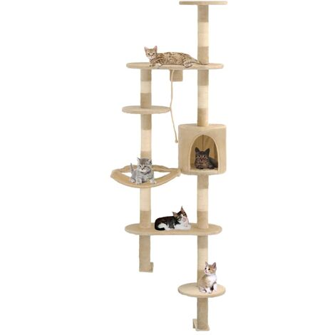 Cat Tree with Sisal Scratching Posts Wall Mounted 194 cm Beige - Beige