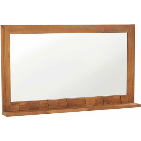 Wall Mirror with Shelf 100x12x60 cm Solid Teak Wood - Brown