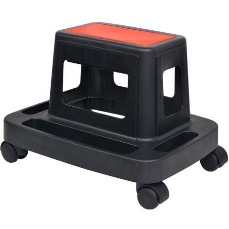 Rolling Workshop Stool with Storage 150 kg - Black