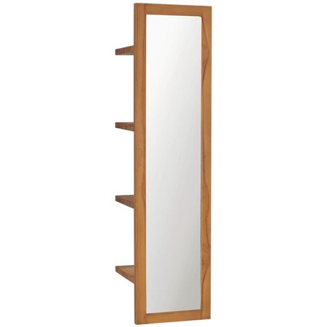 Wall Mirror with Shelves 30x30x120 cm Solid Teak Wood - Brown