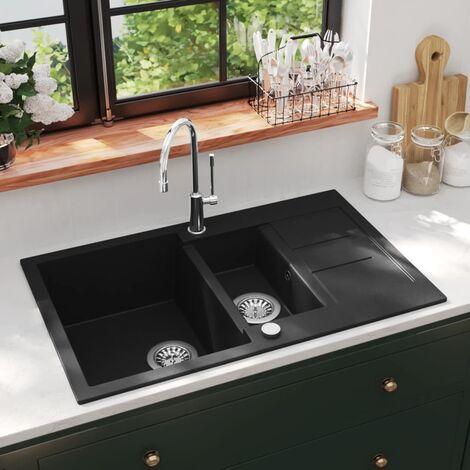 Granite Kitchen Sink Double Basin Black - Black