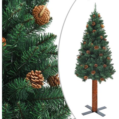 Slim Christmas Tree with Real Wood and Cones Green 180 cm PVC - Green