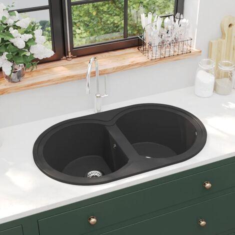 Kitchen Sink Double Basins Oval Black Granite - Black
