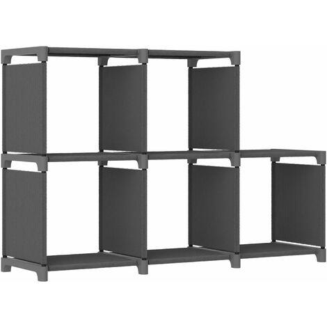 5-Cube Display Shelf Grey 103x30x72.5 cm Fabric - Grey