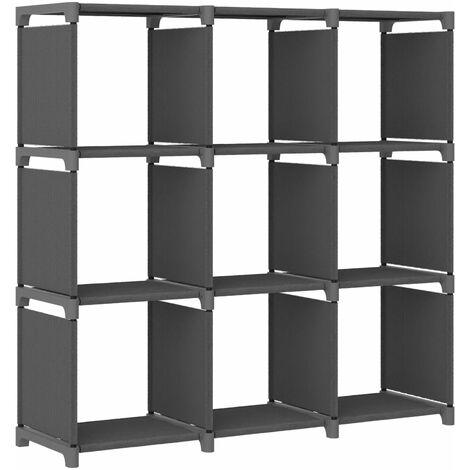 9-Cube Display Shelf Grey 103x30x107.5 cm Fabric - Grey