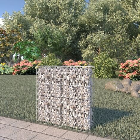 Gabion Wall with Covers Galvanised Steel 80x20x100 cm - Silver
