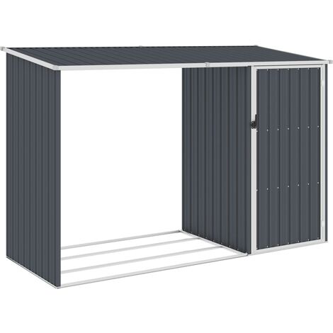 Garden Firewood Shed Anthracite 245x98x159 cm Galvanised Steel - Anthracite