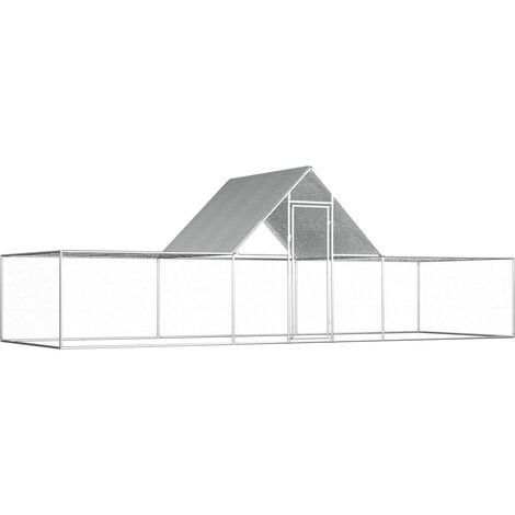Chicken Coop 6x2x2 m Galvanised Steel - Silver