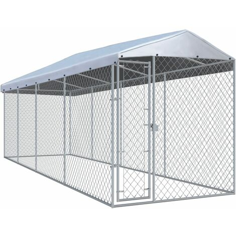 Outdoor Dog Kennel with Roof 760x190x225 cm - Silver
