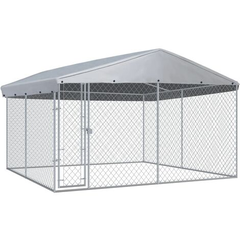 Outdoor Dog Kennel with Roof 382x382x225 cm - Silver
