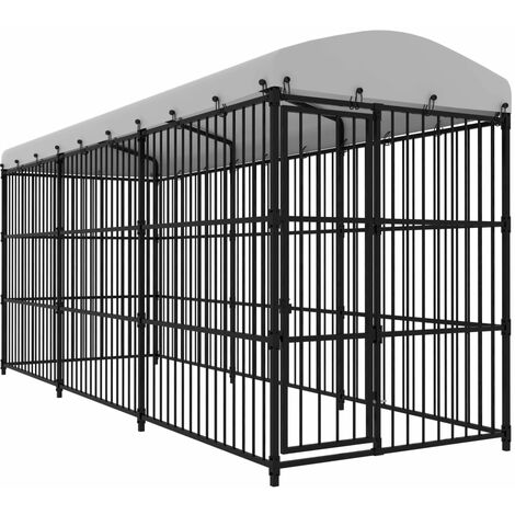 Outdoor Dog Kennel with Roof 450x150x210 cm - Black