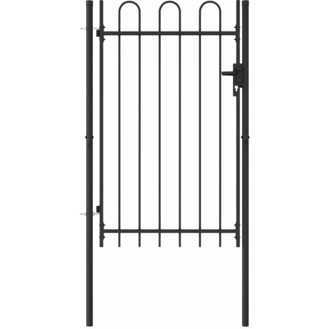 Fence Gate Single Door with Arched Top Steel 1x1.5 m Black