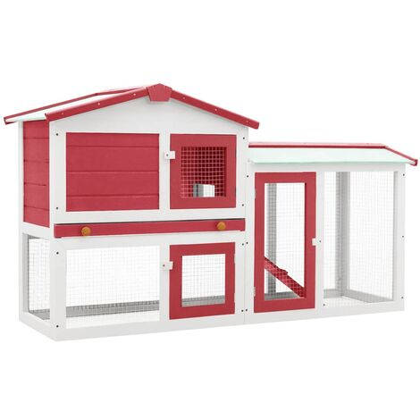 Outdoor Large Rabbit Hutch Red and White 145x45x85 cm Wood - Red