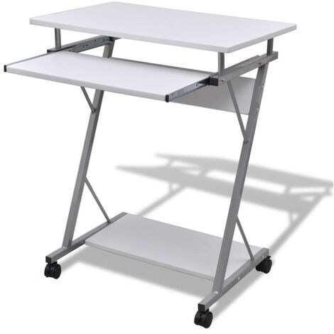 Compact Computer Desk with Pull-out Keyboard Tray White - White