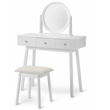 White Dressing Table Set with Mirror and Stool Girls Makeup Desk Dresser with 3 Drawers Bedroom