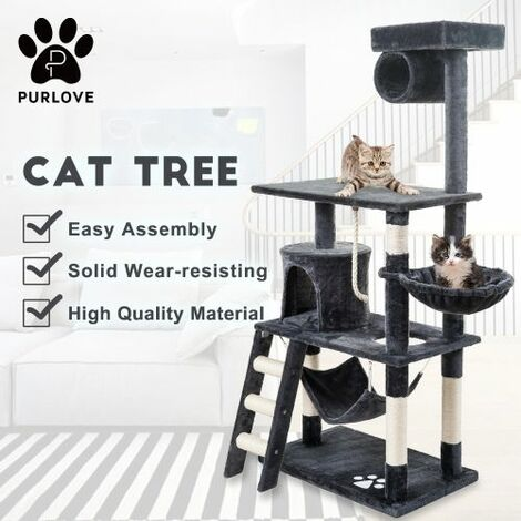Large Cat Tree Scratching Post Multi-Level Cat Scratcher Activity Tree 3 Tier Cat Climbing Tower Furniture (Grey)