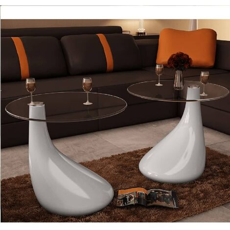 Coffee Table 2 pcs with Round Glass Top High Gloss White - White