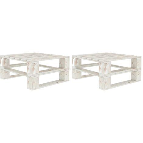 Garden Pallet Tables 2 pcs White Wood - White