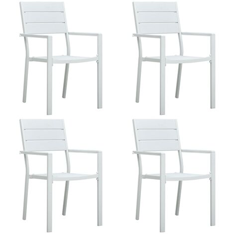 Garden Chairs 4 pcs White HDPE Wood Look - White