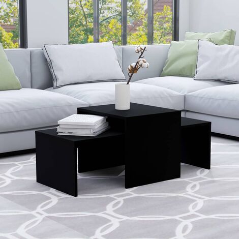 Coffee Table Set Black 100x48x40 cm Chipboard - Black