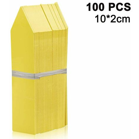 100 Packs Plant Labels Stake-Type Tags Plastic Garden Labels Nursery Tags for Flowers, Vegetables, Seedlings, Seed, yellow